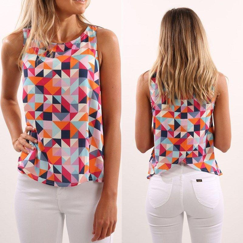 a896773872be 2019 Women Ladies Summer Cold Vest Top Sleeveless Round Neck Print Shirt  Blouse Casual Tank Tops Fashion Clothes From Balljoy, $39.62 | DHgate.Com