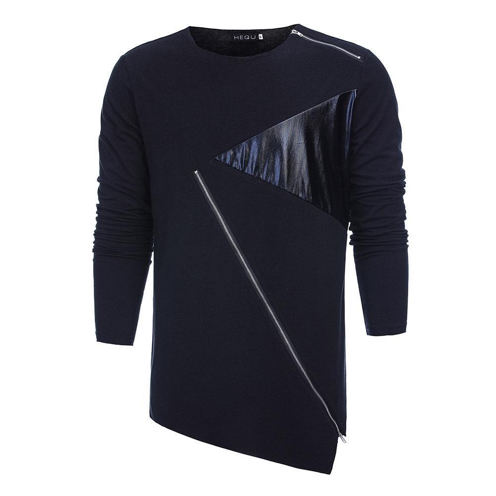 Acquista T Shirt Nuova Moda Autunno Tendenza Hip Hop Irregolare T Shirt In  Pelle Coreana Moda Marea Uomini Cuciture Slim T Shirt A Maniche Lunghe A   25.99 ... 836c952a98a9
