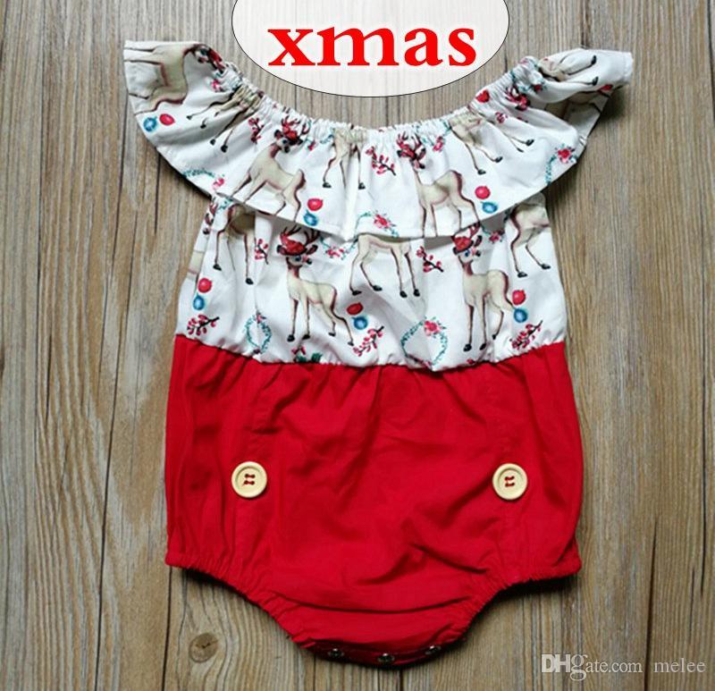 38569946ea8cf Acheter 0 2Y Infant Bébé Filles Noël Barboteuse Pyjama Combinaison Tenue  Cerf Imprimer Confortable Body Mignon Bébé Enfant Vêtements De  4.93 Du  Melee ...