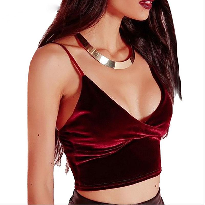 2e772bfea62 Sexy Women Velvet Cropped Camis Crop Top Vintage Retro Punk Female ...