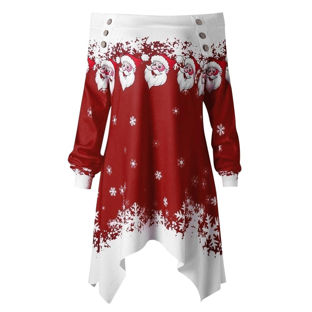 3e40cfdde46 2019 Plus Size Womens Tops And Blouses Christmas Print Long Blouse ...