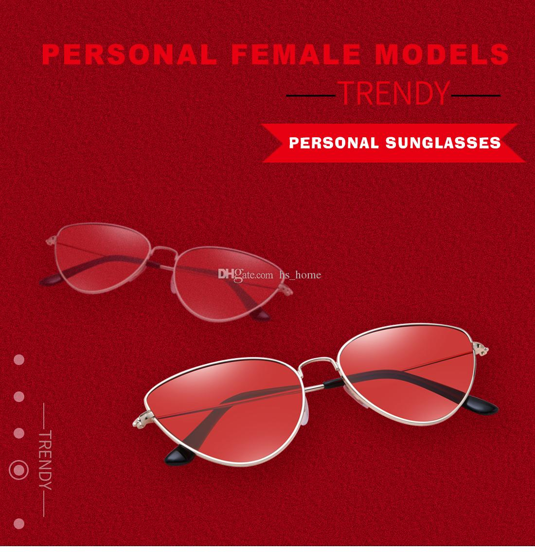 2018 Fashion Design Cat Eye Sunglasses Women Sun Glasses Mirror ...