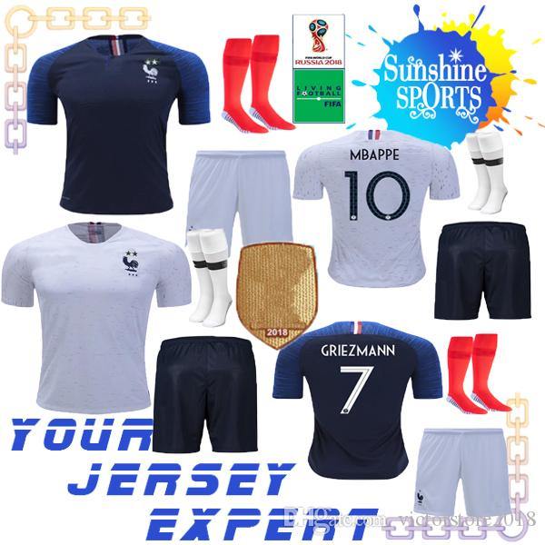 French Soccer Jersey World Cup Men Set 2018 Champions 2 Stars MBAPPE GIROUD  GRIEZMANN POGBA Kit KANTE Home Away Sweatshirt Shorts Socks 2019 SOCCER  JERSEYs ... fe58dcf65