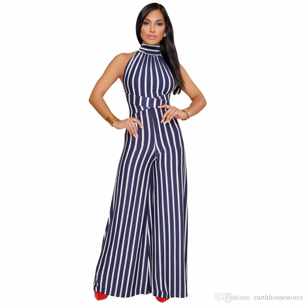 3636d29c011 2019 2018 Fashion Beauty Summer Rompers Women Jumpsuit Sexy Office Lady  Jumpsuit Female Striped Romper Long Trousers Bodycon Playsuit From  Earthhousestores
