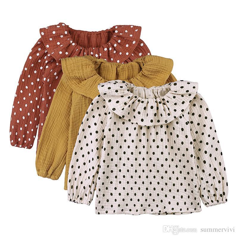 2c414dbc8 Blusa de lino de algodón para niños niñas lunares estampados princesa tops  niños solapa falbala camisa de manga larga otoño bebé niña ropa ...