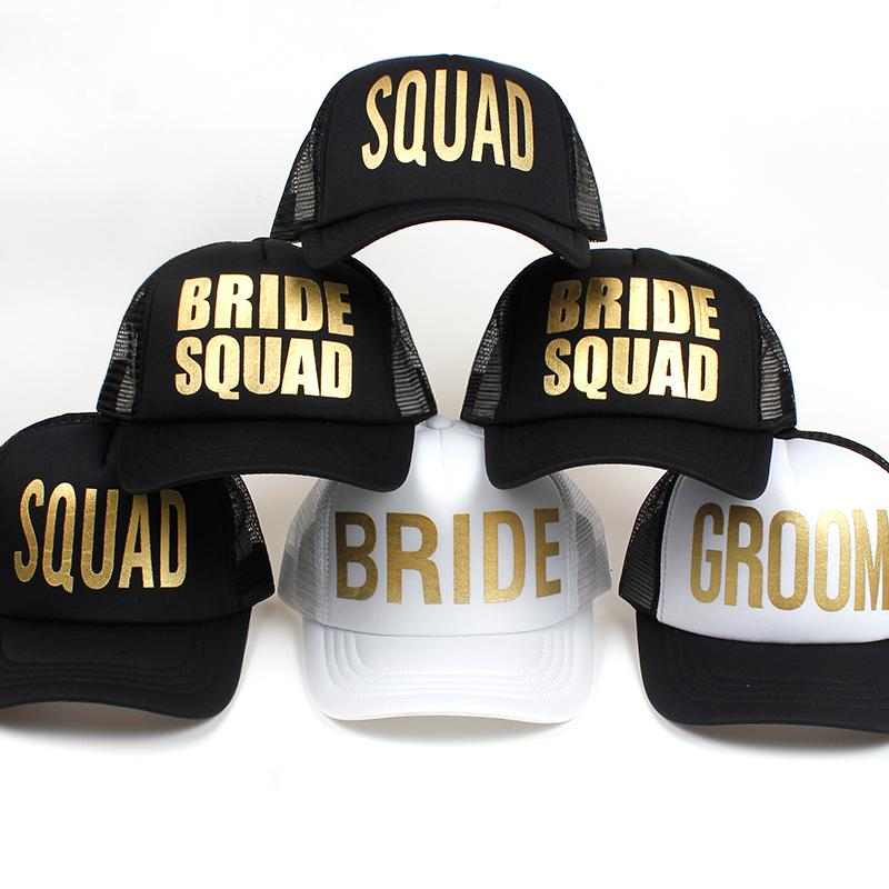 BRIDE SQUAD GROOM Golden Print Bachelorette Mesh Hats Women Wedding  Preparewear Trucker Caps White Neon Baseball Cap Snapback Mesh Hats  Superman Cap From ... e61167156612