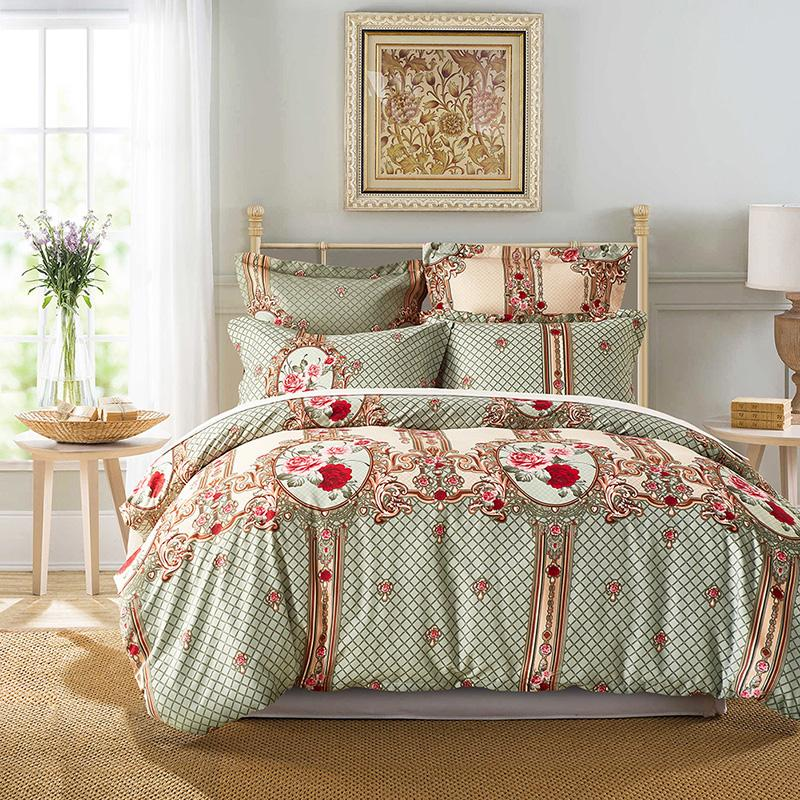 Elegant Microfiber Bedding Pillowcase Duvet Cover Flower Printed Singer UK  Single Double King Home Bedroom Decoration