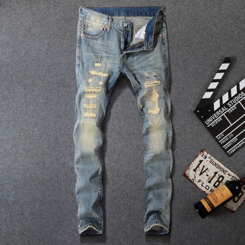 cdbd2697596cb 2019 Italian Fashion Style Men Jeans Vintage PatchworStretch Slim Fit  Ripped Jeans Homme Famous Brand Men Destroyed Biker From Redbud03