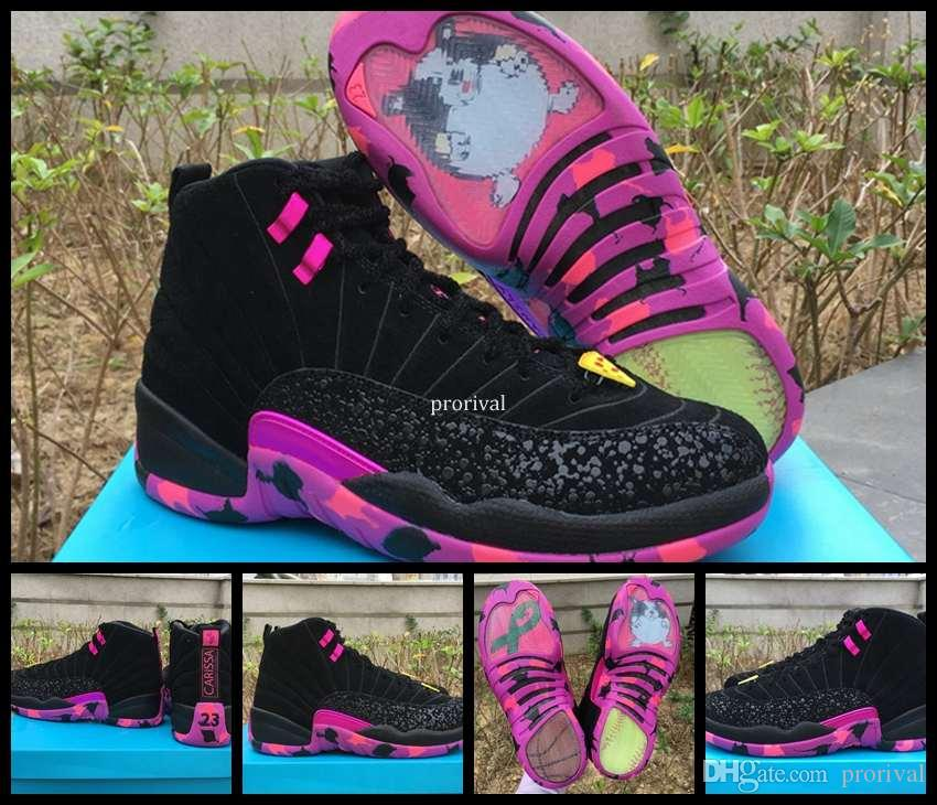 24bb21334050db Top Quality 12 XII Doernbecher Charitable Men Basketball Shoes Black Hyper  Violet Pink 12s DB Carissa Sports Training Sneakers Size US 8 13 Kevin  Durant ...
