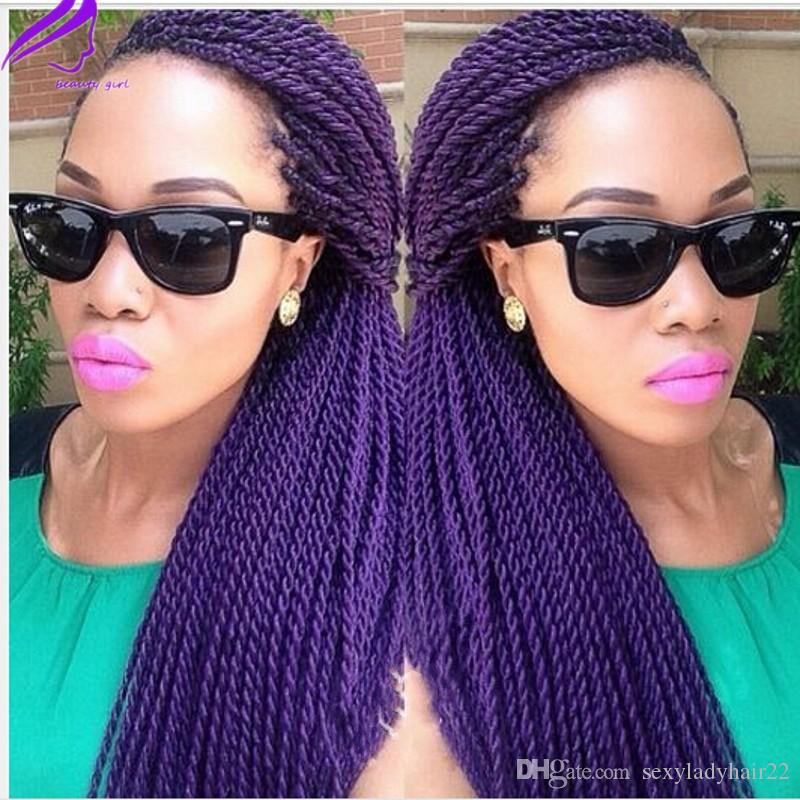 Long Straight Fully hand braided Lace Front wigs purple/brown /black/blonde Senegalese Rope 2x twist Synthetic Handmade Wig For black Women