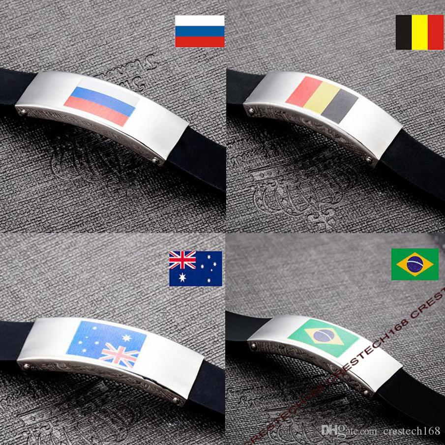 Belgium portugal National Flag Bracelet stainless bracelet laser printing World Cup flag Bracelets Germany Flag silicon bracelet