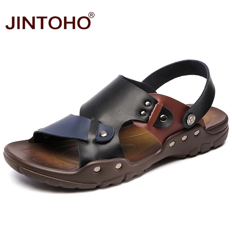 af60344319b1f4 JINTOHO 2018 New Sandals Slippers Cheap Genuine Leather Men Sandals Beach  Leather Male Casual Beach Shoes Sandalias Men Flat Sandals Strappy Sandals  From ...