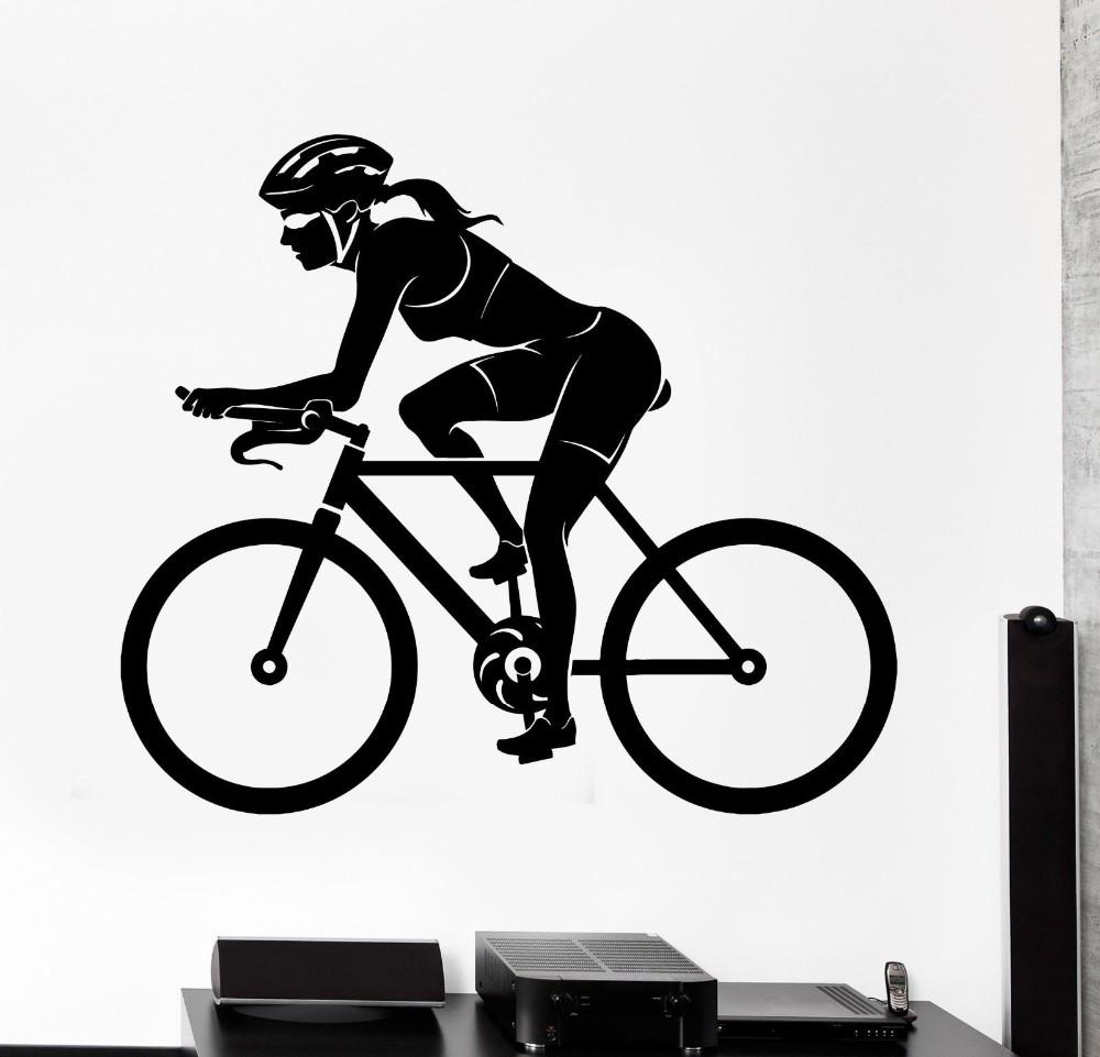 Sports wall sticker bike bicycle woman female cyclist vinyl decal stickers for living room home decoration wall sticker home decoration bike bicycle woman