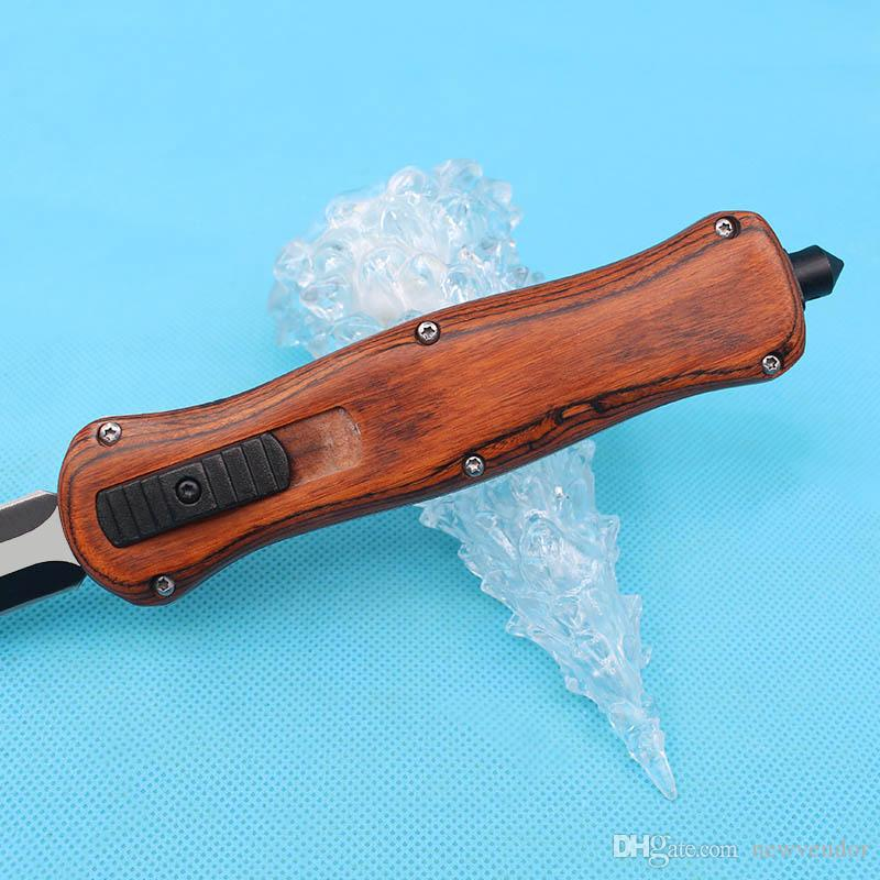 Top quality New Butterfly A016 Auto Tactical Knife 440C Double Edge Fine Blade Brown Wood Handle Outdoor EDC Pocket Knives With Nylon Bag