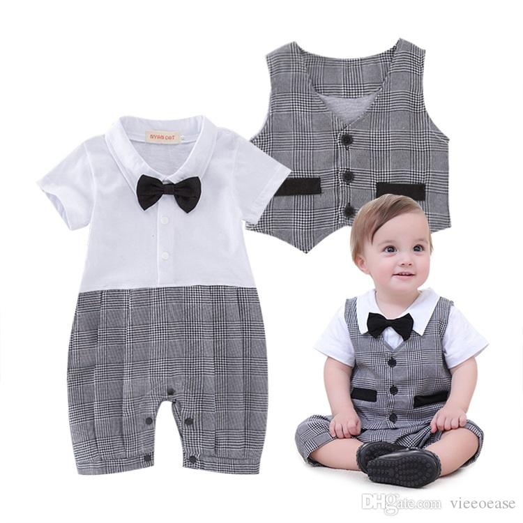 fdfbcadf2 Baby Boys Romper Gentleman Kids Clothing 2018 Summer Jumpsuits ...