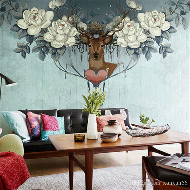 Estilo americano do vintage flor veados 3d murais papel de parede para o sofá backgroud personalizado 3d parede foto murais removível