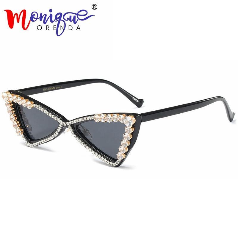 1d7241f0d4 2018 Vintage Small Cat Eye Sunglasses Women Brand Designer Triangle Bling Rhinestone  Luxury Ladies Fashion Shades Oculos Sun Glasses Eyewear From Stirringoa ...