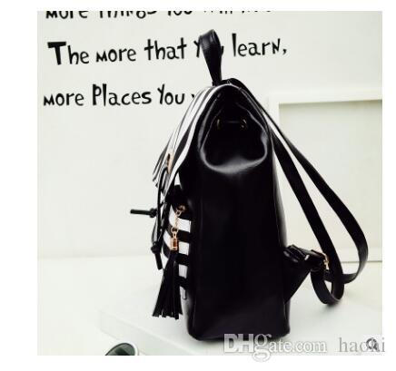 2018 New Fashion Brand New Black White Pu Leather Women's Backpack striped Female School Backpacks Travel Backpack Striped knapsack