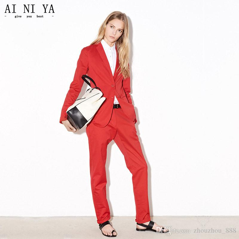 bf66285b3 Red Women Business Work Suits With 2 Piece Jackets+Pants Ladies Formal  Office Uniform Design Female Trouser Suit Custom Made