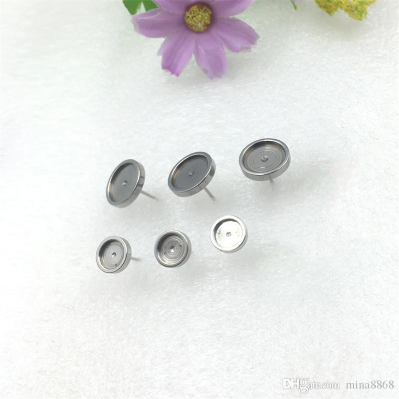 Earrings Base Setting findings blank base setting studs Pins Needles Posts Gluing Pad Cabochon Cameo bezel flat back