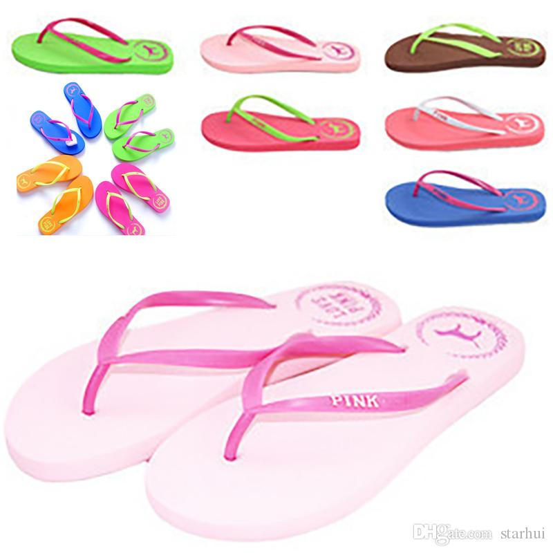 7e7e2d588 Summer Love Pink Flip Flops Candy Colors Beach Pools Slippers Shoes ...