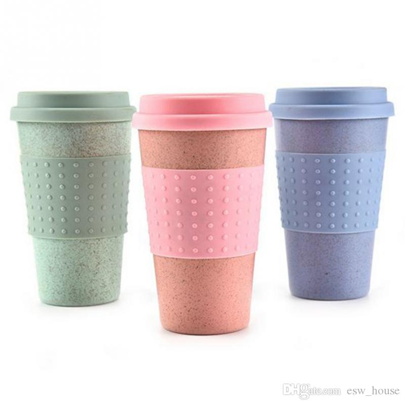 5fa9b71bc99 Wheat Straw Plastic Coffee Cups Travel Coffee Mug With Lid Travel Easy Go  Cup Portable for Outdoor Camping Hiking Picnic