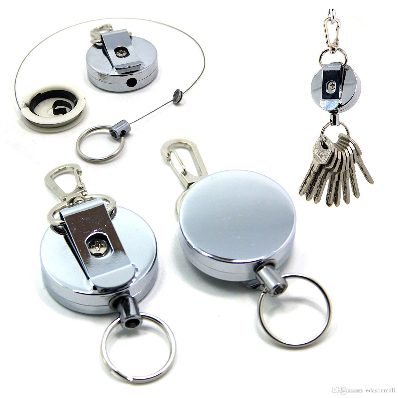 Acheter Gratuit DHL Métal Rétractable Porte Clés Clés Bobine Porte Badge W    Clip Ceinture Avec Câble En Acier Inoxydable Pour Hommes Cadeaux De Noël  B109Q ... f2437822535