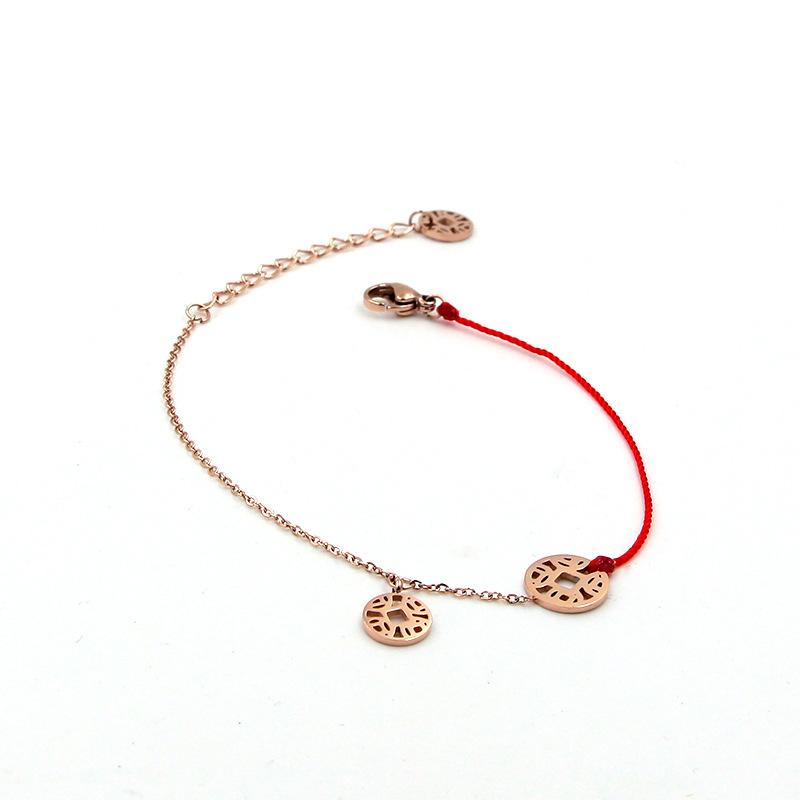 2018 Fashion Stainless Steel Brand Red Rope Love Round Charm Coin Chain Bracelet Bangle Woman Wedding Party Gift