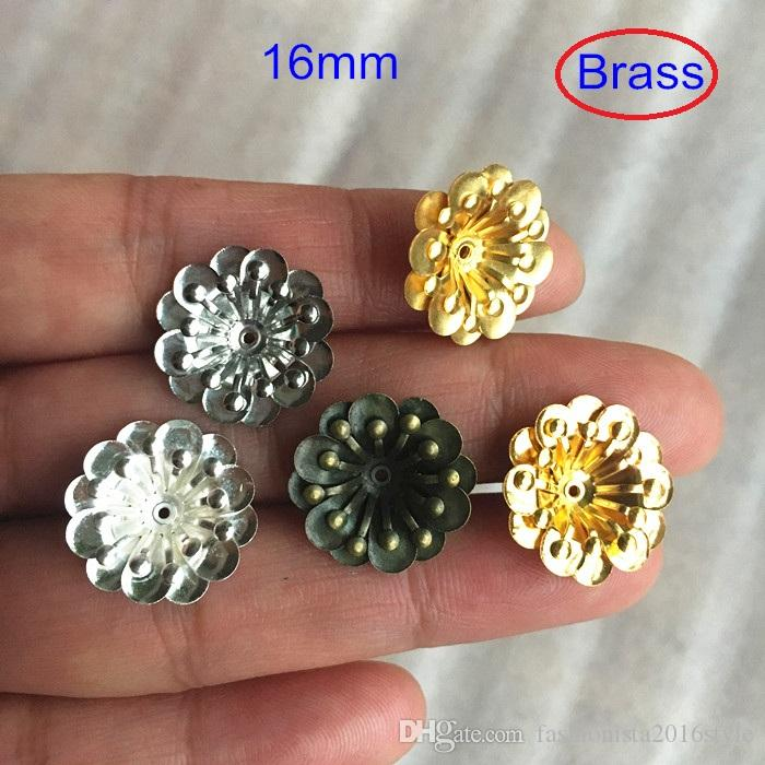 Multi layer Brass Flowers 16mm Brass Petal Bead Caps,Metal Stamped Flowers,Gold-color,silver-color,bronze,Steel,raw brass