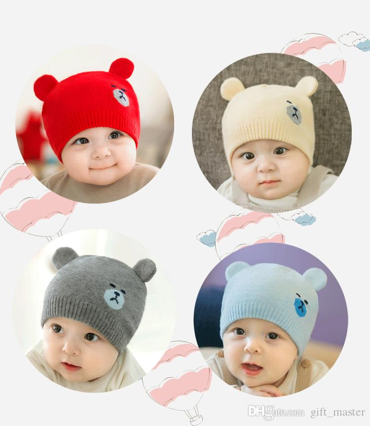 4ebbe20747625 2019 Newborn Baby Beanie Hat Fashion Cute Bear Pattern Winter Warm Crochet  Christmas Knitted Unisex Infant Hat With Ears Todd Er Cap J From  Gift master