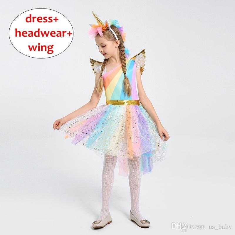 424a8dad01d4f INS Girl Unicorn print dress 3pcs Set Halloween cosplay party costume Kids  Summer Autumn short sleeve cloth 4size