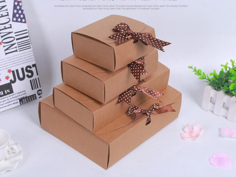 3 sizes large cardboard gift boxribbon packaging paper craft box wedding kraft rectangle gift paper box packing for christmas gift bags and boxes - Large Christmas Gift Boxes
