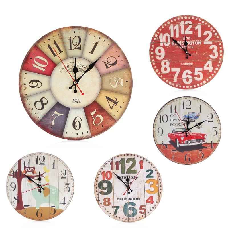 Ordinaire Cute Wooden Wall Clock Cartoon Round Vintage Rustic Kitchen Home Office  Home Decor Chic Wall Clocks Kids Bedroom Decoration Bathroom Wall Clocks  Bathroom ...