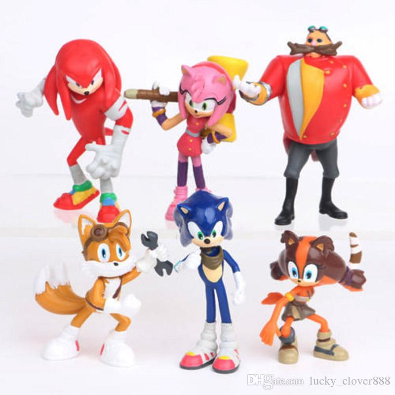 SEGA Sonic the azione Amy Tails Knuckles Dr. Eggman Doll PVC Figure Figurine Gioca bambini regalo Hedgehog Sonic Boom Set Toy Cake Topper