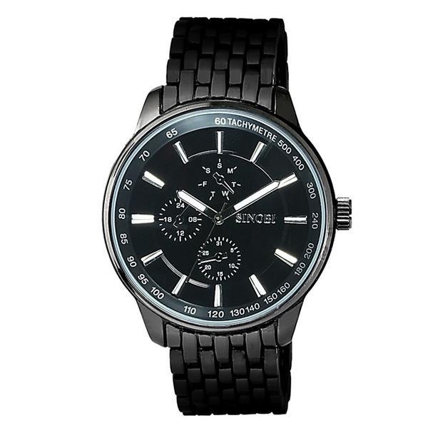 8f9dd3879c0 Compre Relógios Masculinos De Sinobi Relógios De Luxo Relógios De Pulso De  Quartzo De Relógio De Quartzo De Aço Completo De Discagem De Relógio De ...