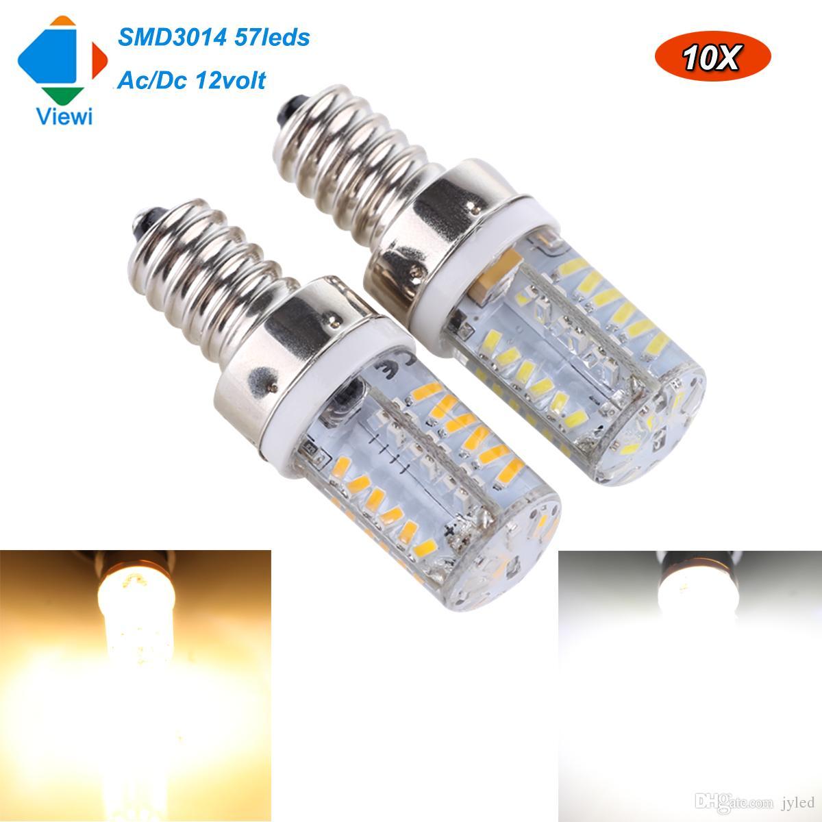viewi 10x ampolletas 12 volt bulb light led energy saving lamp e12 12v smd 3014 57 leds 2w 220 lumens silicone bulbs lamps e12 led lamp 12 volt led bulb e12