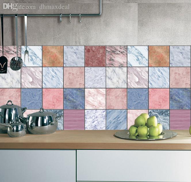 marble waterproof anti oil wallpaper mluti color tile stickers diy