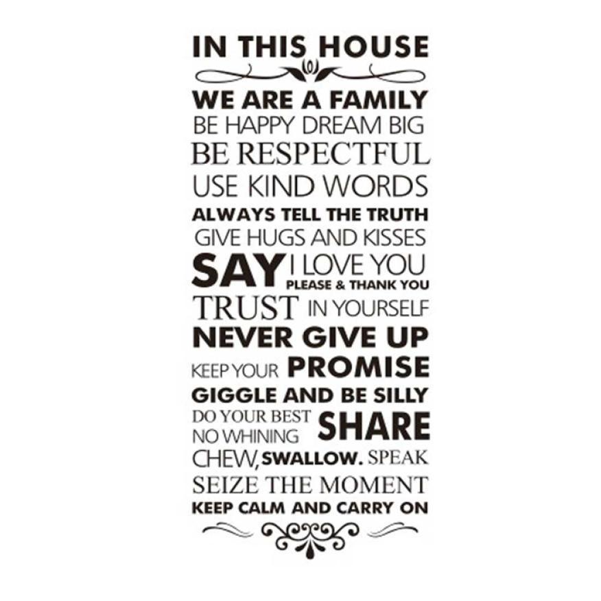 뜨거운 판매 2016 벽에 스티커 하우스 규칙 벽에 인용 가족 영감을 데 칼 비닐 스티커 adesivo 드 parede XT