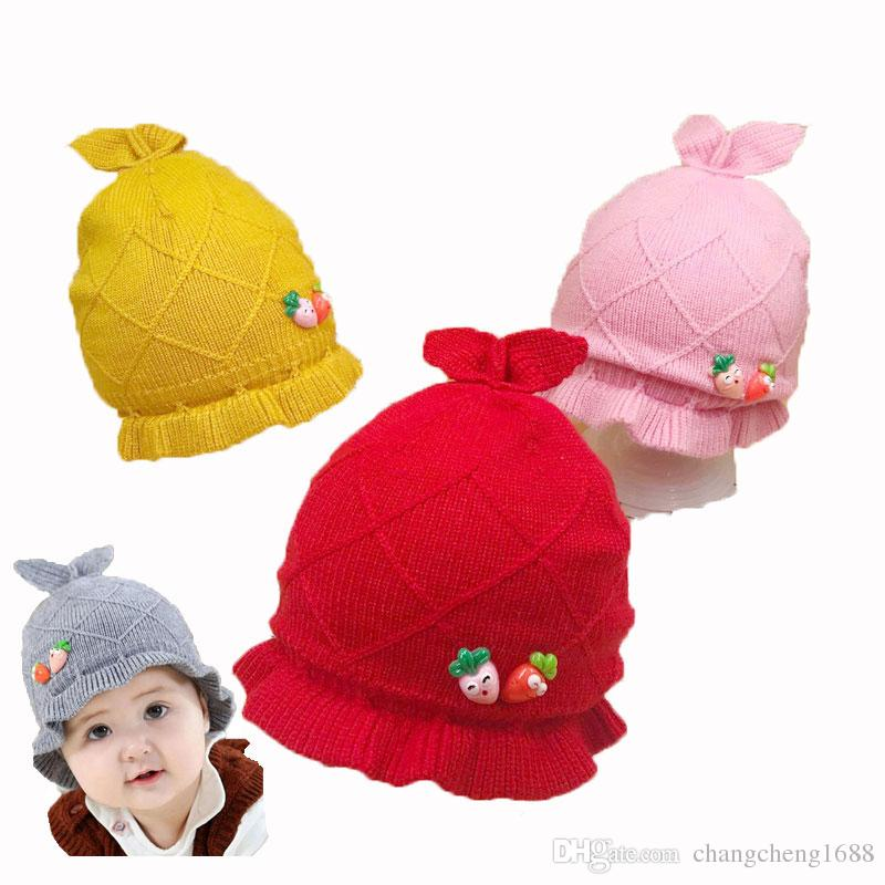 3572546954f 2019 Baby Kids Falbala Beanies Hats Boy Girl Skullies Carrot Rabbit Ear  Design Knit Solid Jacquard Ribbed Skull Cap Child Winter Warm Hat MZ6777  From ...