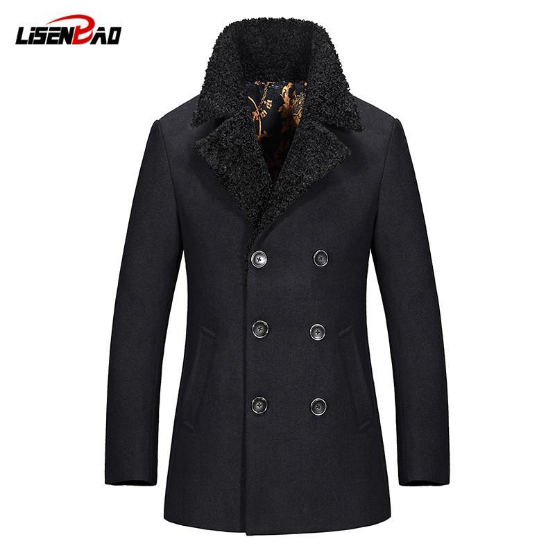 f65633f1d3 Compre LiSENBAO 2017 Casacos De Inverno Para Homens Venda Quente De Moda De  Lã Casuais Ternos De Negócios Casaco Fino Mens Casaco Jaqueta Roupas De  Marca De ...