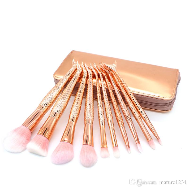 Con bolsa Factory Direct DHL Free HOT Mermaid Brush Pinceles de maquillaje Tech Professional Beauty Cosmetics Brushes Sets