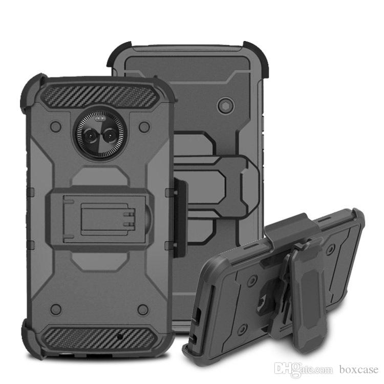 uk availability 66176 0575e TPU Hard PC Holster Belt Clip Case for Motorola E5 Plus Supra with  Kickstand Rugged Armor Hybrid Cover for Moto E5 Cruise Play Z3