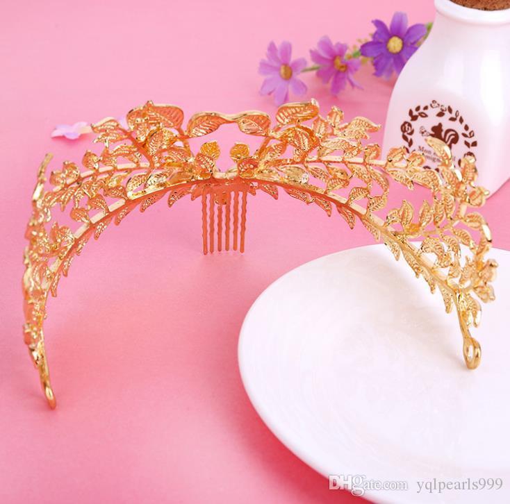 Altın Barok monokrom gelin şapkalar taç taç elbise takı