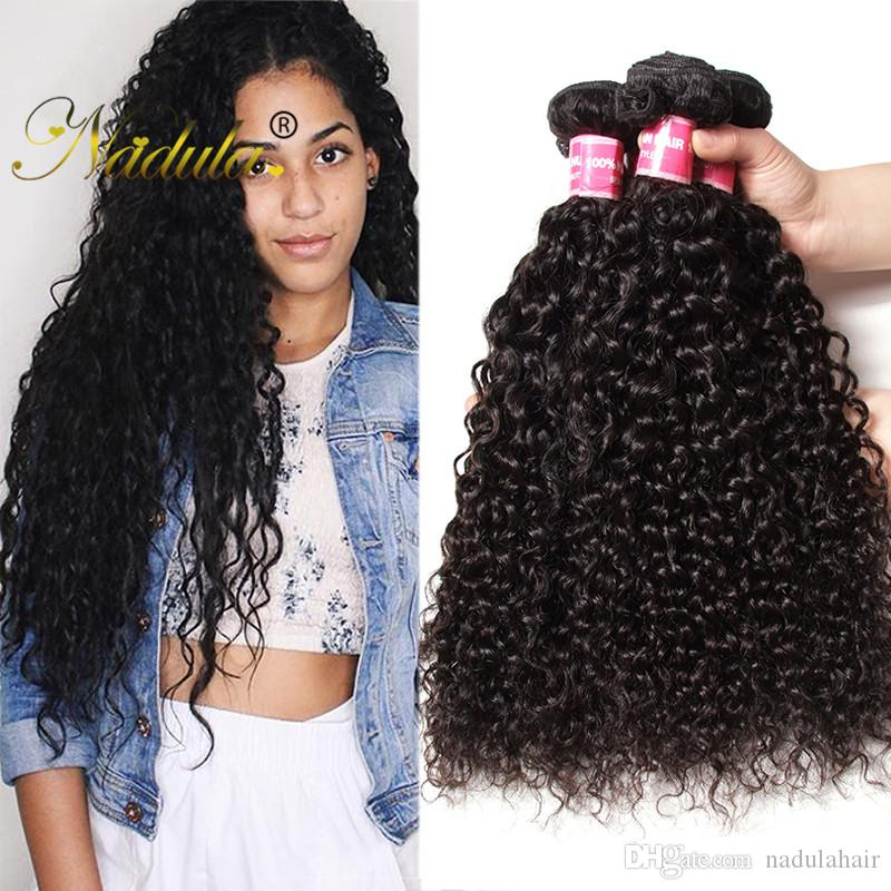 Nadula Raw Indian Curly Hair 4 Bundles Kinky Curly Virgin Hair Weave