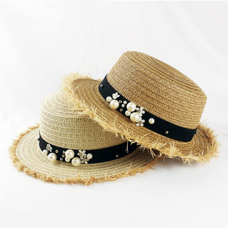 HSS Hot Sale+Flat Top Straw Hat Summer Spring Women s Trip Caps ... 90afa917619