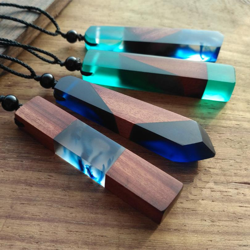 Wood Resin Necklace Women Men Handmade Vintage Resin Wood Statement Necklaces & Pendants Rope Wooden Necklace Jewelry Gifts