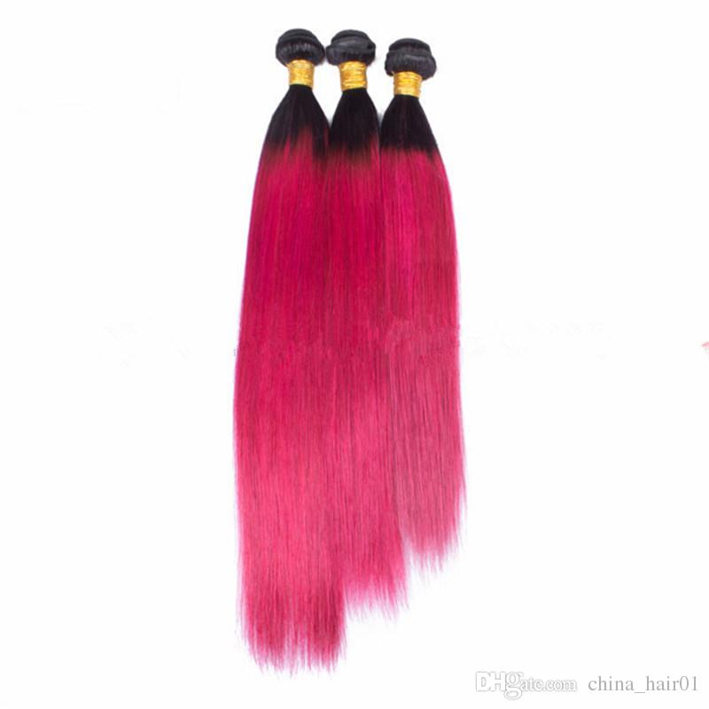 Brazilian Ombre Pink Virgin Human Hair 3 Bundles Deals with 13x4 Lace Frontal Closure Straight 1B/Hot Pink Ombre Hair Weaves with Frontals