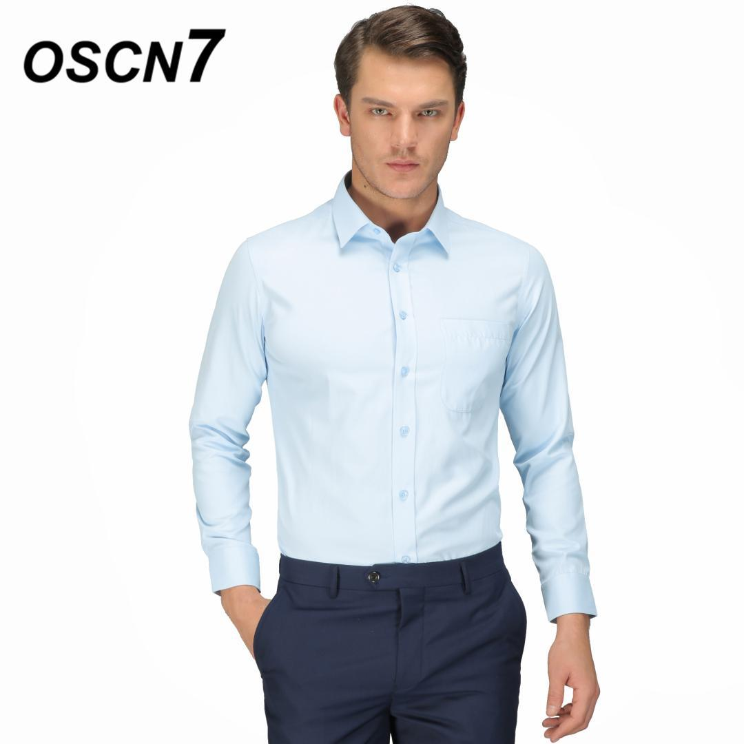 2019 Oscn7 Solid Business Shirts Men Plus Size Casual Office Wear