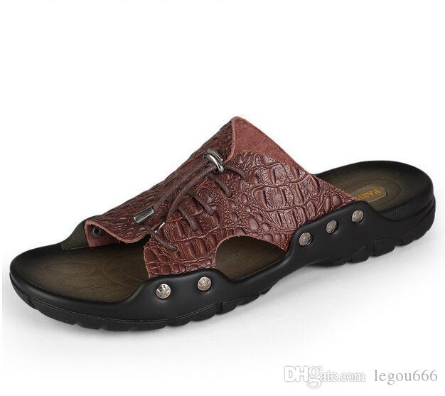 c4a78ccb4474 Acheter 2018 Nouveaux Hommes Véritable Cuir Vacances Plage Chaussures Flip  Flops Hommes Casual Chaussures Plates Sandales Pantoufles D été Pour Hommes  Ga241 ...