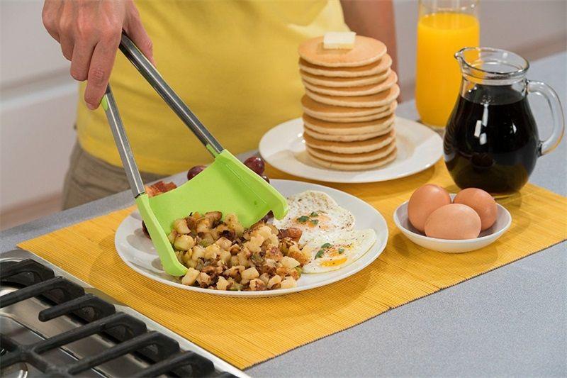 Pinze Clever 2-in-1 Cucina Resistente Calore Resistan Lavastoviglie Safe Spatula Pinze Silicone con telaio in acciaio inox Cibo Pala